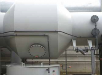Centrifugal scrubber using spray